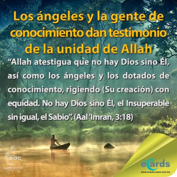 Los ángeles y la gente de conocimiento dan testimonio de la unidad de Allah